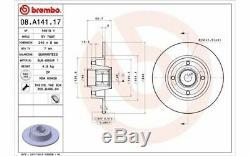 2x BREMBO Disques de Frein Arrière Plein 240mm pour RENAULT CLIO 08. A141.17