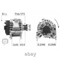 ALTERNATEUR COMPATIBLE AVEC RENAULT CLIO II 1.5 dCi (B/CB03) 59KW 80CV 06/2001