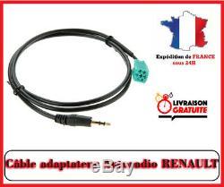 Câble Jack auxiliaire Autoradio véhicules RENAULT UDAPTE LIST Mégane Clio 2 3