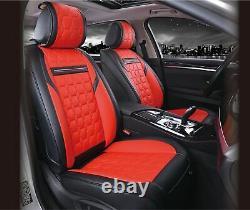 De Luxe Rouge Noir PU Cuir Set Complet Housses de Siège pour Renault Megane Clio