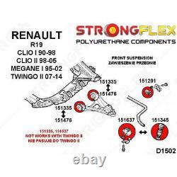 Kit suspension avant silentblocs polyuréthane pour Renault Megane I, Twingo II