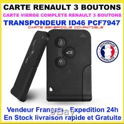 Lot De 10 Cartes Compatible Renault Megane 2 / Scenic 2 / Clio 3 // 3 Boutons